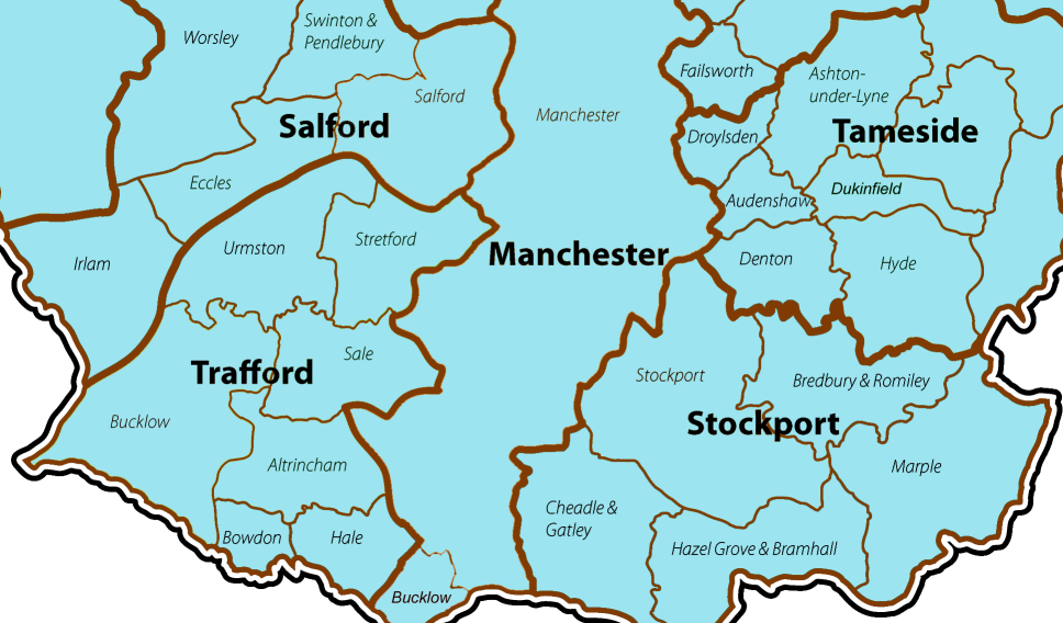 Map of areas we cover in Greater Manchester